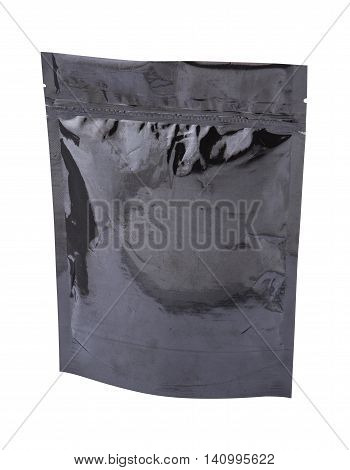 Foil package bag black isolated on white with clipping path