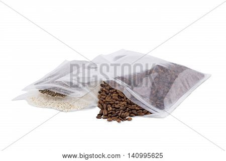 Foil package bag isolated on white with clipping path with coffee and rice