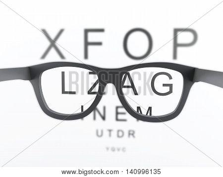 3d renderer image. Black reading glasses focus on eye chart.