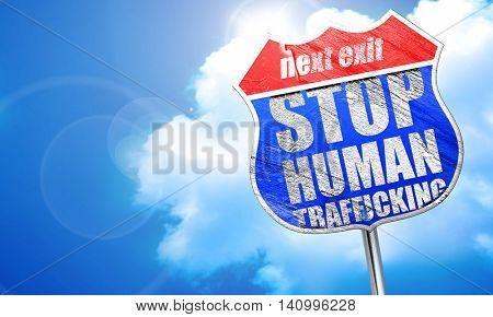 stop human trafficking, 3D rendering, blue street sign