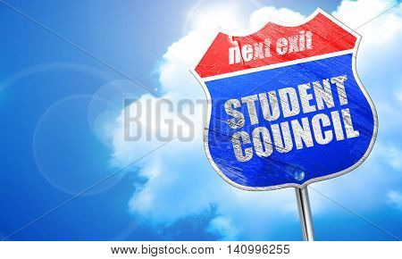 student council, 3D rendering, blue street sign