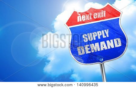 supply and demand, 3D rendering, blue street sign