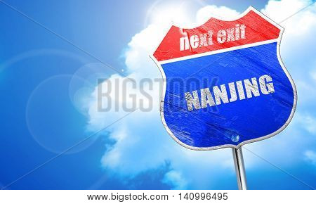nanjing, 3D rendering, blue street sign
