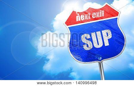 sup internet slang, 3D rendering, blue street sign