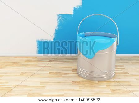 3d renderer image. Full bucket of paint color blue.