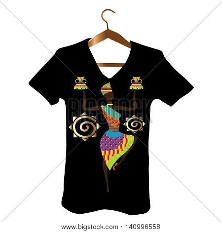 T-Shirt Design with vector luxury  stylish African woman and African decorative folklore elements.Decorative ornate  3d decor with shadow and highlights.