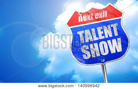 talent show, 3D rendering, blue street sign
