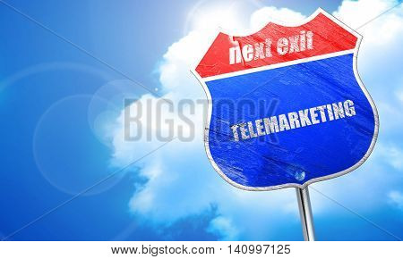 telemarketing, 3D rendering, blue street sign