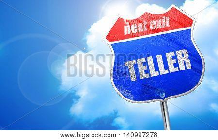 teller, 3D rendering, blue street sign
