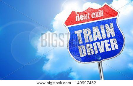 train driver, 3D rendering, blue street sign