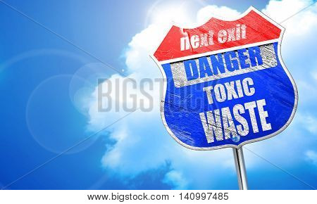 Toxic waste sign, 3D rendering, blue street sign