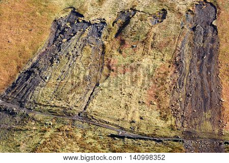Landslip on a hillside in the Lake District, England