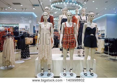 KUALA LUMPUR, MALAYSIA - CIRCA MAY, 2016: H&M store in Kuala Lumpur. H&M Hennes & Mauritz AB is a Swedish multinational retail-clothing company,