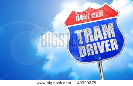 tram driver, 3D rendering, blue street sign