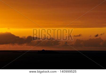 Yellow Sky Dark Foreground During Sunset