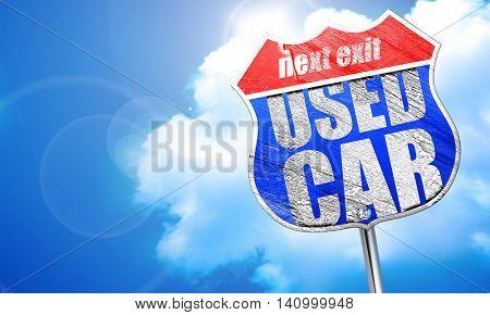 used car, 3D rendering, blue street sign
