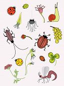 conventionalized insects and plant