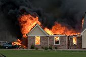 picture of fire insurance  - A nasty house fire caused by a lightning strike - JPG