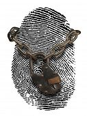 fingerprint with open padlock and chain draped over it