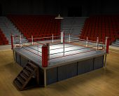 stock photo of boxing ring  - A 3d generated professional boxing ring front ropes removed - JPG