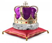 image of crown jewels  - Kings crown on a pillow over a white background - JPG