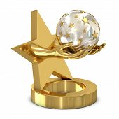 Golden trophy with star and hands