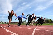 picture of race track  - Businesspeople race on track - JPG