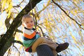 foto of tire swing  - Young boy on tire swing - JPG