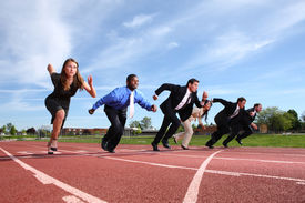 stock photo of race track  - Businesspeople race on track - JPG