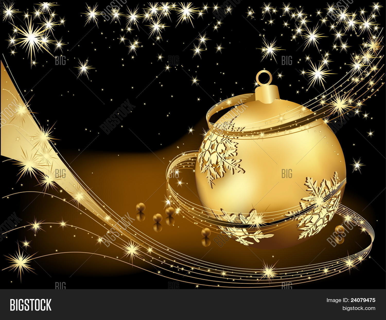 Merry Christmas Background Gold And Black Stock Vector