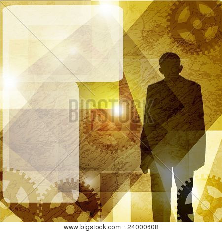 grunge, business man. vector background. space for text