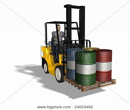 Fork Lift Loading 4 Barrels