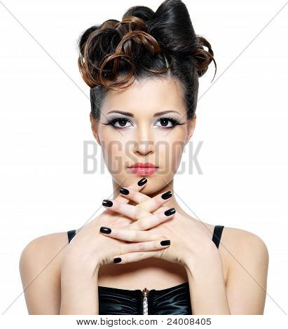 Attracitve  Woman With Stylish Hairstyle And Black Fingernails