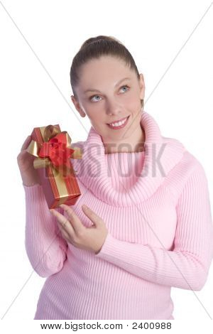 Beautiful Young Woman Holding Red Gift