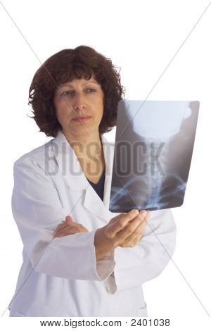 Female Doctor Analyzing A Medical X-Ray