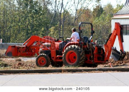 Red Backhoe