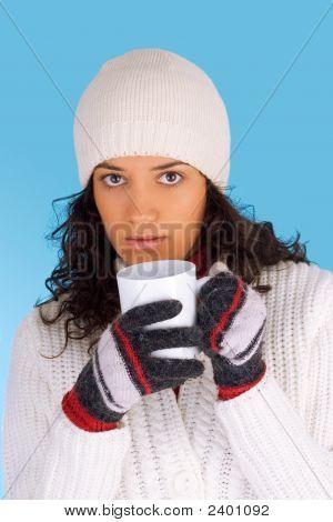 Winter Girl Drinking Tea