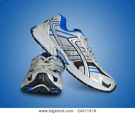 Sneakers Isolated On Blue Background