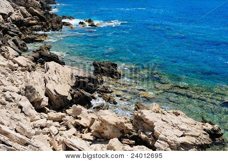 Rocky shore of sea