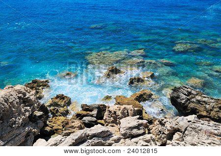 Rocky shore of sea