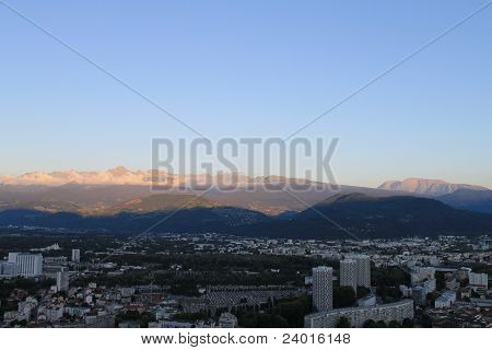 Grenoble with view towards Uriage les Bains et Chamrousse