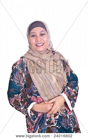 Beautiful happy mature Malay Muslim woman in scarf
