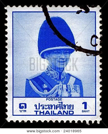 THAILAND-CIRCA 1988:A stamp printed in Thailand shows image of Bhumibol Adulyadej  is the current King of Thailand, circa 1988.