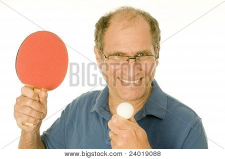 Senior Man Playing Ping-pong Table Tennis