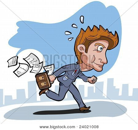 Business man running with suitcase and papers