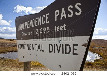 Independence Pass Sign At The Continental Divide