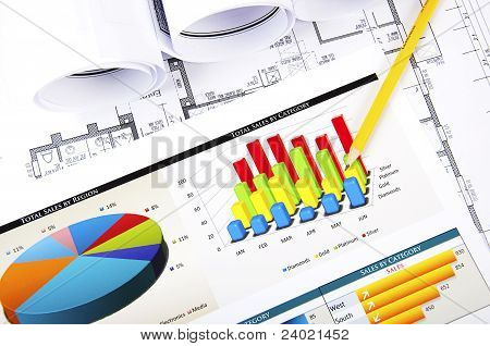 Pencil Points To The Business Graphics