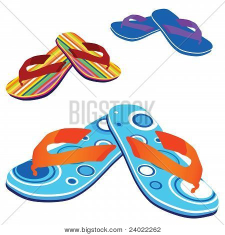 Flip Flop For Beach Vector Illustration