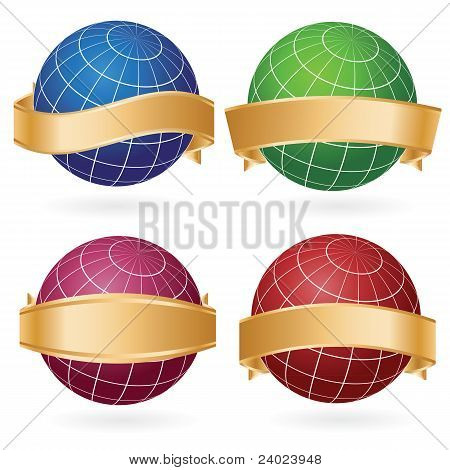 Planet Globe In Ribbons