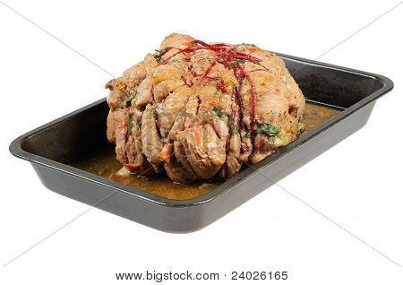 Baked ham on a tray